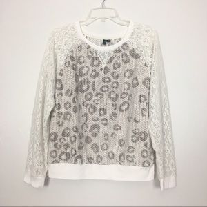 Kensie Cream Tan Leopard Print Sweatshirt Large